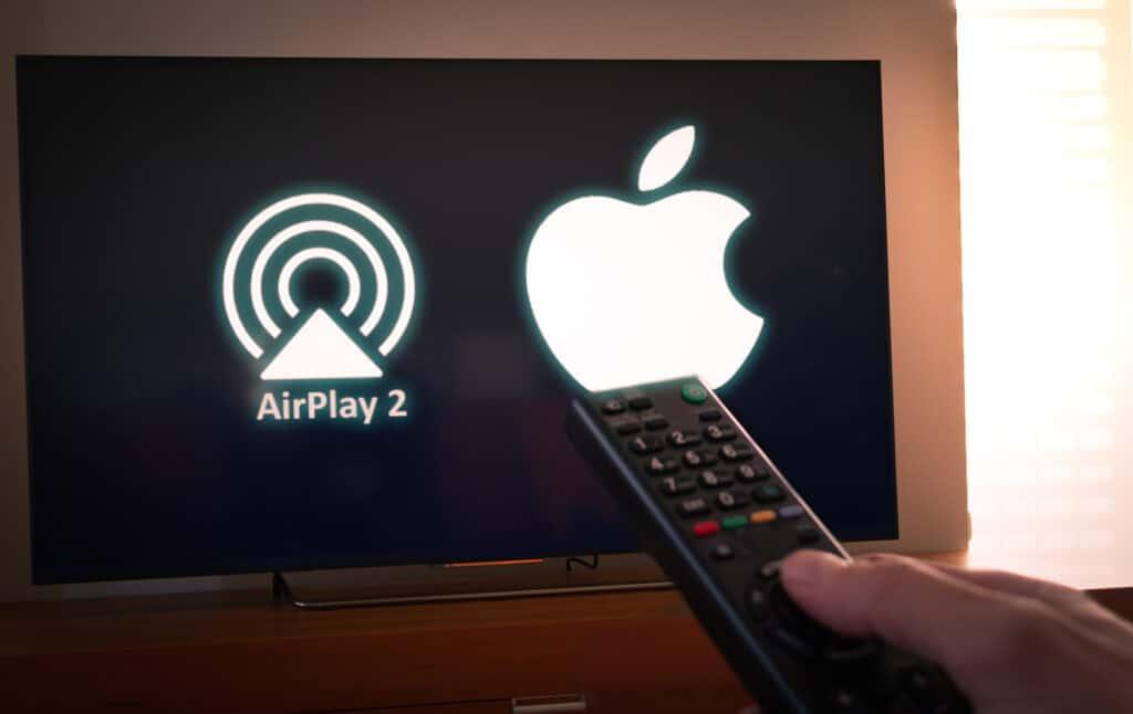 Apple airplay 2 logo på skærm