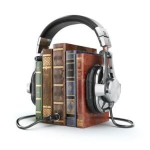 Lydbog bøger med høretelefoner på signalerer lydbøger
